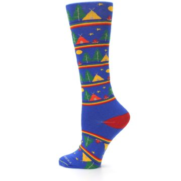 Image of Blue Green Yellow Camping Women's Crew Socks (side-2-13)
