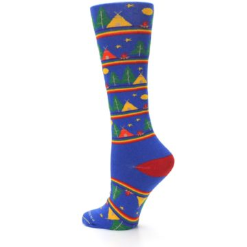 Image of Blue Green Yellow Camping Women's Crew Socks (side-2-back-14)
