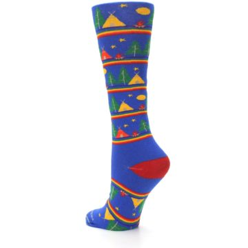 Image of Blue Green Yellow Camping Women's Crew Socks (side-2-back-15)