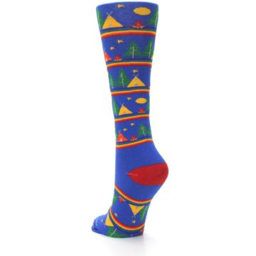 Image of Blue Green Yellow Camping Women's Crew Socks (side-2-back-16)