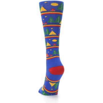 Image of Blue Green Yellow Camping Women's Crew Socks (back-17)