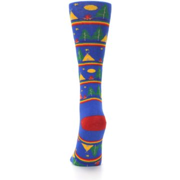 Image of Blue Green Yellow Camping Women's Crew Socks (back-18)