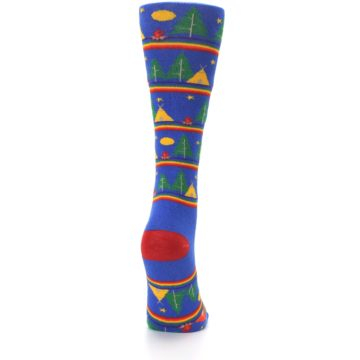 Image of Blue Green Yellow Camping Women's Crew Socks (side-1-back-20)