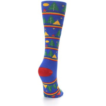 Image of Blue Green Yellow Camping Women's Crew Socks (side-1-back-21)