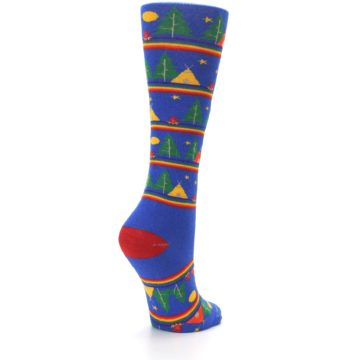 Image of Blue Green Yellow Camping Women's Crew Socks (side-1-back-22)
