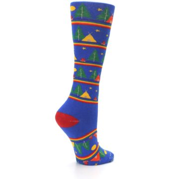 Image of Blue Green Yellow Camping Women's Crew Socks (side-1-23)
