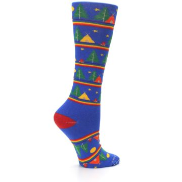 Image of Blue Green Yellow Camping Women's Crew Socks (side-1-24)