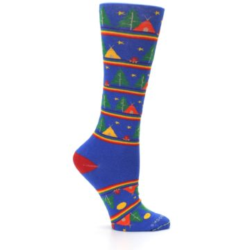 Image of Blue Green Yellow Camping Women's Crew Socks (side-1-25)