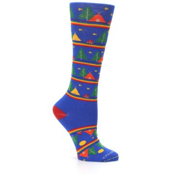 Image of Blue Green Yellow Camping Women's Crew Socks (side-1-26)