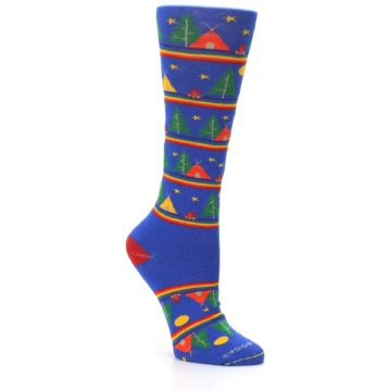 Image of Blue Green Yellow Camping Women's Crew Socks (side-1-27)