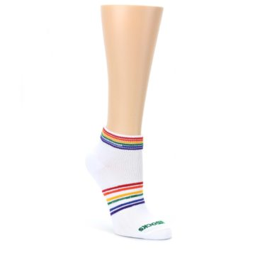 White-Multicolor-Rainbow-Stripes-Womens-Ankle-Socks-Pride-Socks