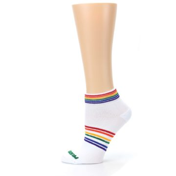 Image of White Multicolor Rainbow Striped Socks – Women's Ankle Socks (side-2-11)