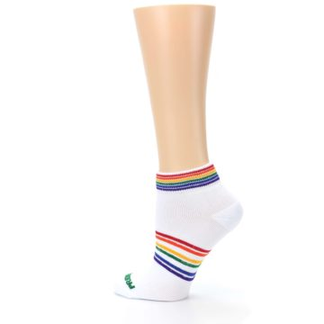 Image of White Multicolor Rainbow Striped Socks – Women's Ankle Socks (side-2-13)