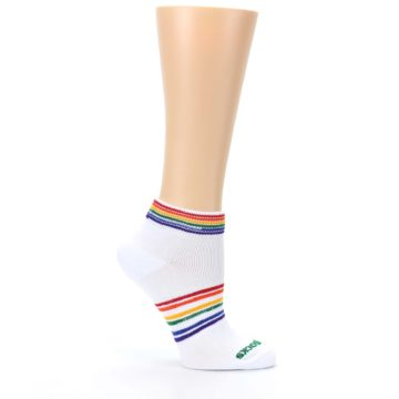 Image of White Multicolor Rainbow Striped Socks – Women's Ankle Socks (side-1-25)