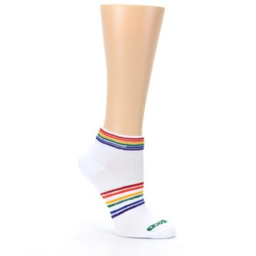 Image of White Multicolor Rainbow Striped Socks – Women's Ankle Socks (side-1-26)
