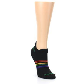 Image of Black Multicolor Rainbow Stripes Women's Ankle Socks (side-1-front-02)