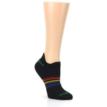 Image of Black Multicolor Rainbow Stripes Women's Ankle Socks (side-1-27)