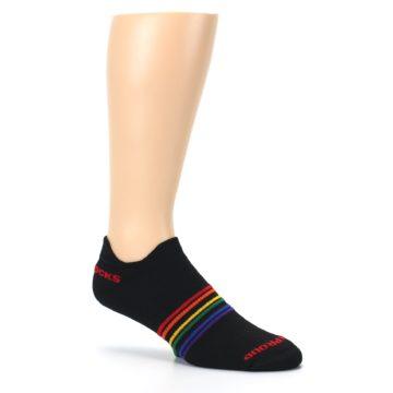 Image of Black Multicolor Rainbow Stripes Men's Ankle Socks (side-1-26)