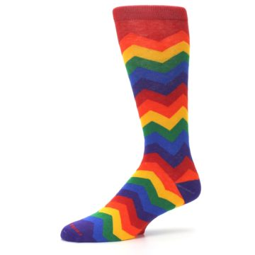 Image of Multicolor Rainbow Chevrons Men's Crew Socks (side-2-10)