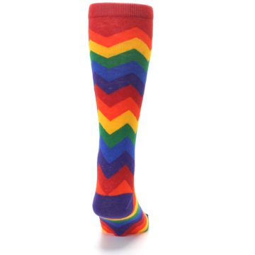Image of Multicolor Rainbow Chevrons Men's Crew Socks (back-19)