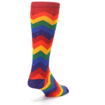 Image of Multicolor Rainbow Chevrons Men's Crew Socks (side-1-back-21)