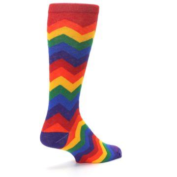 Image of Multicolor Rainbow Chevrons Men's Crew Socks (side-1-back-22)