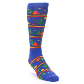 Image of Blue Green Yellow Camping Men's Crew Socks (side-1-front-02)