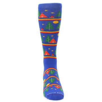 Image of Blue Green Yellow Camping Men's Crew Socks (front-04)