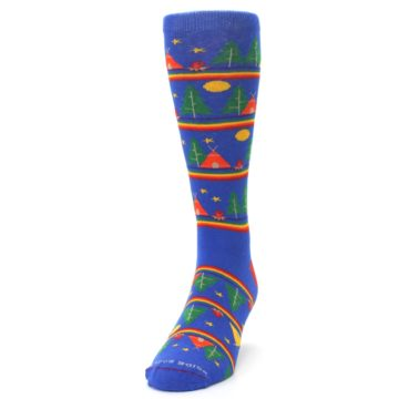 Image of Blue Green Yellow Camping Men's Crew Socks (side-2-front-06)
