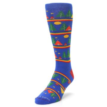 Image of Blue Green Yellow Camping Men's Crew Socks (side-2-front-07)