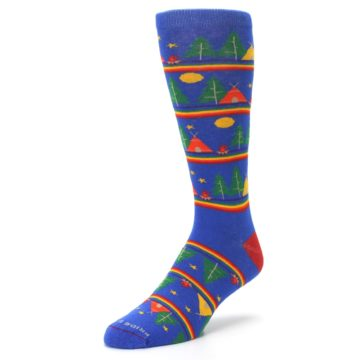 Image of Blue Green Yellow Camping Men's Crew Socks (side-2-front-08)