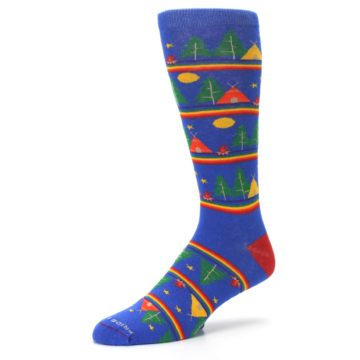 Image of Blue Green Yellow Camping Men's Crew Socks (side-2-09)