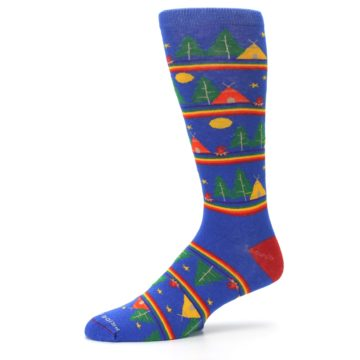 Image of Blue Green Yellow Camping Men's Crew Socks (side-2-10)