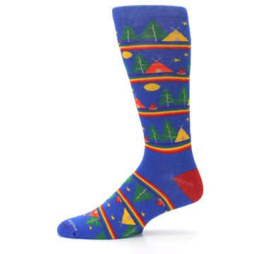 Image of Blue Green Yellow Camping Men's Crew Socks (side-2-11)
