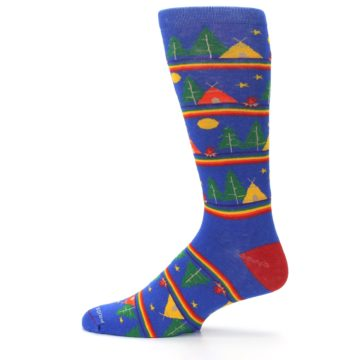 Image of Blue Green Yellow Camping Men's Crew Socks (side-2-12)