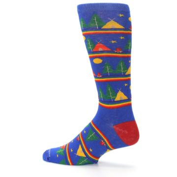 Image of Blue Green Yellow Camping Men's Crew Socks (side-2-13)