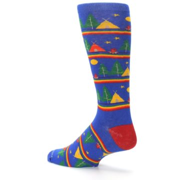 Image of Blue Green Yellow Camping Men's Crew Socks (side-2-back-14)