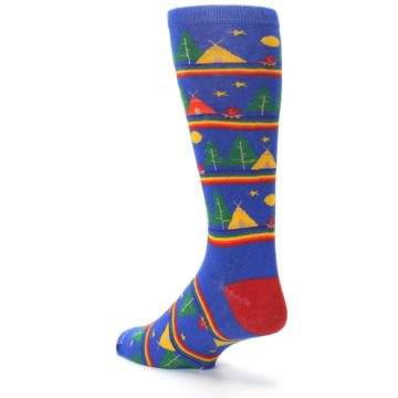 Image of Blue Green Yellow Camping Men's Crew Socks (side-2-back-15)