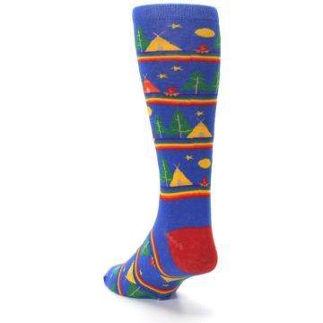 Image of Blue Green Yellow Camping Men's Crew Socks (side-2-back-16)