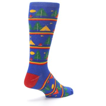 Image of Blue Green Yellow Camping Men's Crew Socks (side-1-back-22)