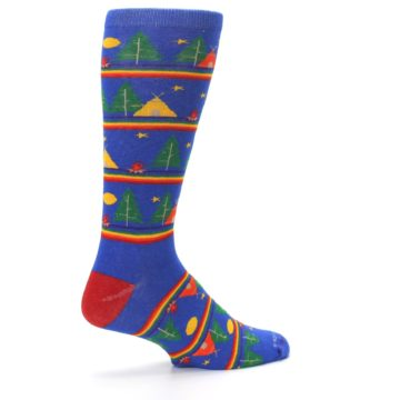 Image of Blue Green Yellow Camping Men's Crew Socks (side-1-23)