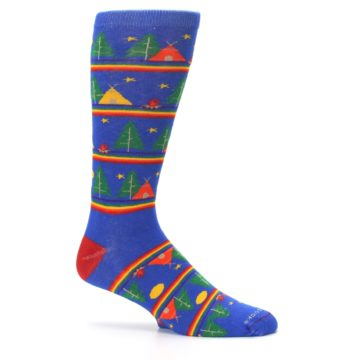 Image of Blue Green Yellow Camping Men's Crew Socks (side-1-25)