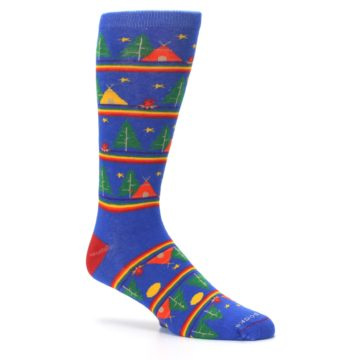 Image of Blue Green Yellow Camping Men's Crew Socks (side-1-26)