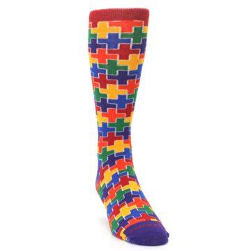Image of Multicolor Rainbow Plus Men's Crew Socks (side-1-front-03)
