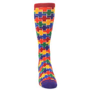 Image of Multicolor Rainbow Plus Men's Crew Socks (front-04)