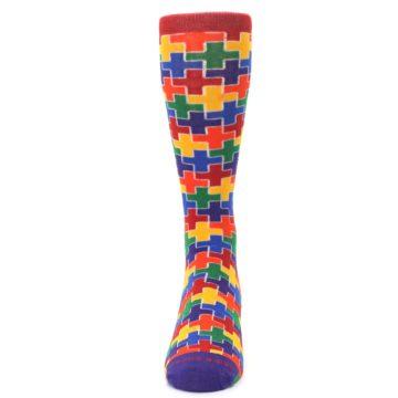 Image of Multicolor Rainbow Plus Men's Crew Socks (front-05)
