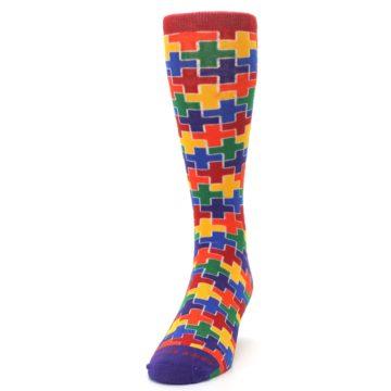 Image of Multicolor Rainbow Plus Men's Crew Socks (side-2-front-06)