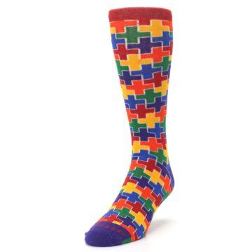 Image of Multicolor Rainbow Plus Men's Crew Socks (side-2-front-07)
