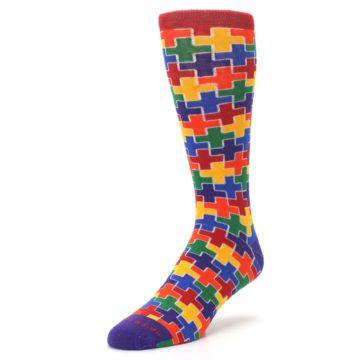 Image of Multicolor Rainbow Plus Men's Crew Socks (side-2-front-08)