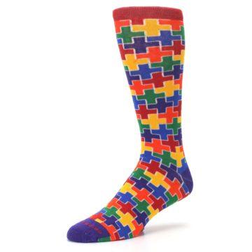Image of Multicolor Rainbow Plus Men's Crew Socks (side-2-09)